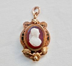 Art Nouveau Pendant, 14K Gold Cameo Jewelry, Chalcedony Cameo, Antique Jewelry, Black Enamel, Yellow Gold, Vintage Necklace Art Deco Purple by TheJewelryChain on Etsy