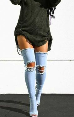 Boots by Ego Official OTK boots, thigh high boots, denim shoes, jean boots, distressed thigh high boots outfit 2017 Outfit Jeans, Jean Outfits, Fashion Outfits, Fashion Trends, Fashion 2017, Fashion Boots, Looks Style, My Style, Botas Sexy