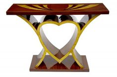 Unique and very cute art deco style console table with the central heart motif - we like! - Top has intricate inlay work embedded into main structure or rosewood. Check here for a video tour of our showroom. Art Deco Sofa, Art Deco Bedroom, Art Deco Furniture, Living Furniture, Console Table, Art Nouveau, Table Vintage, Vintage Art, Vintage Interiors