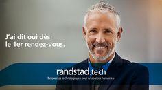 Aujourd'hui, à travers la technologie Randstad Bigdata, les plateformes Randstad Direct et Recrut'live, Randstad s'attache à faire évoluer la recherche d'emploi et toute la physionomie des ressources humaines. Pour les faire progresser. J'ai Dit Oui, Innovation, Solution, Hui, Live, Fictional Characters, Job Search, Human Resources, Technology