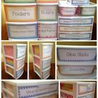 Organization is key, and many items in our classrooms and homes are sitting idle when they could easily be repurposed to aid in the effort. Do you have old plastic containers from the grocery store, milk crates, or old hardbound books? Classroom Organisation, Teacher Organization, Classroom Management, Organization Ideas, Organized Teacher, Organizing Labels, Classroom Setup, Classroom Design, School Classroom