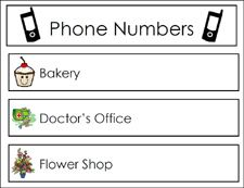 dramatic play phone number cards