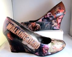 The Walking Dead Zombie Wedge Heels - Made to Order #shoes #thewalkingdead #wedgeheels