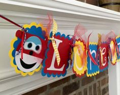 Happy Birthday Banner Super Wings by whimzycreations on Etsy