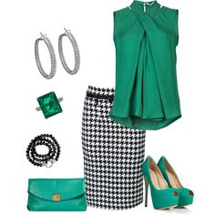 Cute work outfit / Green + black  white - dig the color combo