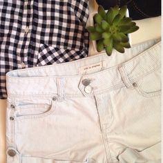 Pinstripe Shorts Life in Progress cuffed, pale blue and white pin stripe shorts. 100% cotton Life in Progress Shorts