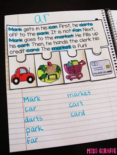 Phonics Fluency Notebooks - Kids highlight the focus sound (here it's the R controlled vowel sound AR) and write them, color the pictures of the story's events and put them in order.... so many skills practiced in one reading passage!