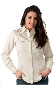 Roper Women's Cream with Silver Embroidery Long Sleeve Retro Western Shirt