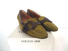 WOMENS VOLTAN CHARTRUESE GREEN BROWN ITALIAN SUEDE LEATHER SHOES MADE IN ITALY