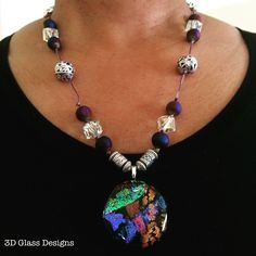 Lovely necklace featuring my dichroic glass pendant accented by Druzy agate, crystal and silver beads.