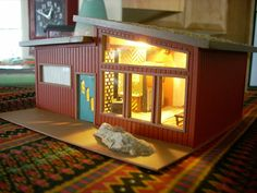 Retro Renovation putz house patterns - transformed to quarter-inch scale doll houses - Retro Renovation Putz Houses, Doll Houses, Mini Houses, Gingerbread Houses, Toy House, Retro Renovation, Glitter Houses, Modern Dollhouse, Christmas Villages