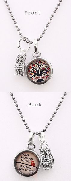 """Two sided charm of pendant with """"courage"""" and """"don't be afraid not to fail, be afraid not to try"""". Vintage collage art with a tree and an owl. Wear alone or combine with more charms to create an individualized gift for your graduate! Each charm has a clip at the top that will easily attach to any of our necklace or bracelet chains."""