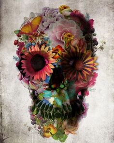 """""""Floral Skull"""" Graphic/Illustration by Ali GULEC posters, art prints, canvas prints, greeting cards or gallery prints. Find more Graphic/Illustration art prints and posters in the ARTFLAKES shop. Los Muertos Tattoo, Capas Samsung, Aquarell Tattoo, Totenkopf Tattoos, Sugar Skull Tattoos, Sugar Skulls, Skull Candy Tattoo, Candy Skulls, Floral Skull"""