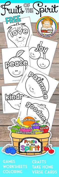 Cute Fruits of the Spirit Bible Coloring Pages for Kids. Great for Christian Preschool or Sunday School Classroom