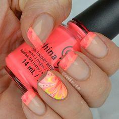 No French for Shy Girls nail art by Meltin'polish - Nailpolis: Museum of Nail Art Swag Nails, My Nails, Neon Nails, Nail Manicure, Nail Polish, Flip Flop Fantasy, Polka Dot Bikini, Polka Dots, Water Marble Nails