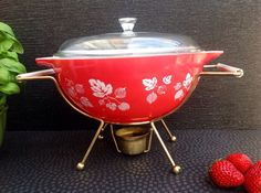 1960's JaJ Pyrex Red Gooseberry Patten Serving Dish with lid and warming stand. Atomic Pyrex !