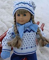 American Girl Doll clothes- knitted sweather and cap