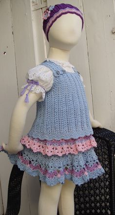 Crochet Blue Top Pattern for girls 2 to 8 by PdfPatternDesign