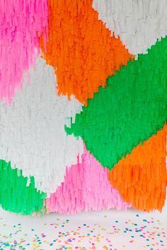 DIY Fringe shag Backdrop - photo by Emily Chidester Photography DIY by Studio Cultivate for Ruffled http://ruffledblog.com/diy-modern-shag-backdrop   Ruffled