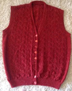 Red Handmade Knitted Lacy Pattern Sleeveless Vest on Etsy, $40.00 AUD