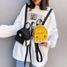 Fashionable Backpacks For School, Trendy Backpacks, School Backpacks, Popular Backpack Brands, Harajuku, Yellow Shoulder Bags, Teenage Guys, College Girls, School Fashion