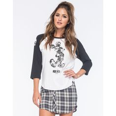 Neff Disney Collection Mickey Ransom Womens Raglan Tee ($30) ❤ liked on Polyvore featuring tops, t-shirts, print t shirts, cotton tee, crew neck t shirt, graphic t shirts and white cotton t shirts