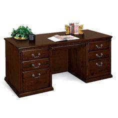 Huntington Cherry Double Pedestal Executive Desk   National Business Furniture