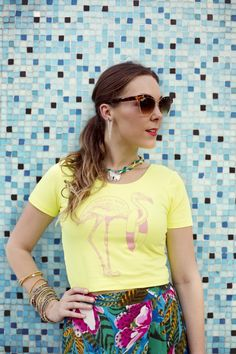 Tropical Print Street Style on Sequin Crush | Hazel and Florange Top/Mignon Faget Jewelry | Photography by Brei Olivier
