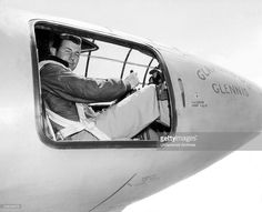 Captain Charles E Yeager is in the cockpit of the Bell X-1 supersonic research aircraft, Muroc Army Air Force Base, California, October 1947. He became the first man to fly faster than the speed of sound in level flight on October 14.