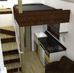 What alternatives are there to the tiny house ladder? Find out how to have stairs instead of a ladder in your tiny house to reach your loft. Tiny House Stairs, Tiny House Living, Tiny House Plans, Tiny House On Wheels, House Ladder, Loft House, Layout Design, Design Design, Lofts