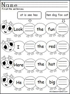 Students complete the sentences by writing the sight words (at, is, see, has) and CVC words (hen, dog, fox, cat) with this FREE worksheet.  This is part of a large Butterfly Unit for sale.
