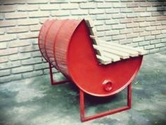 Exciting Diy Projects - All For Decoration Barrel Furniture, Metal Furniture, Industrial Furniture, Cool Furniture, Furniture Design, Barrel Projects, Welding Projects, Drum Chair, Metal Barrel