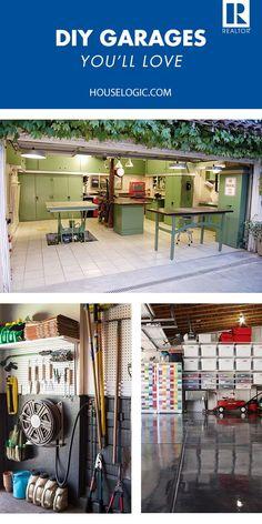 Garage organization ideas and storage solutions . - CLICK THE PICTURE for Lots of Garage Organization Pics. Garage Shed, Garage House, Diy Garage, Garage Workshop, Garage Workbench, Garage Room, Small Garage, Garage Art, Double Garage