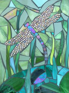 Dragonfly Greetings Card - Dragonfly by Pond Mosaic - Mosaic Art