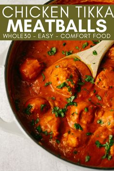 Chicken Tikka Meatballs are a Whole30 friendly twist on chicken tikka masala. The best part of this healthy meatball recipe is the sweet and spicy sauce. You will want to pour that sauce on everything! Recipe For Chicken Tikka, Chicken Meatball Recipes, Lunch Recipes, Paleo Recipes, Dinner Recipes, Paleo Dinner, Free Recipes, Cast Iron Casserole Dish, Sweet And Spicy Sauce