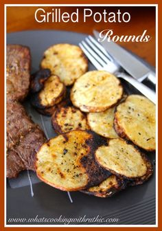Grilled Potato Rounds!  Crunchy, Healthy, and Delish!  You'll want to try this one by cookingwithruthie.com #recipes #side_dish