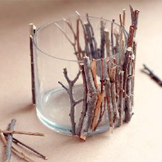 """Twig candle holder--where's the glue gun? - ayşe türkol - - ""Twig candle holder--where's the glue gun? Diy Projects To Try, Crafts To Do, Arts And Crafts, Deco Nature, Ideias Diy, Crafty Craft, Crafting, Fall Decor, Candle Holders"