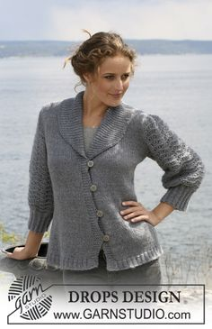 """DROPS jacket in stockinette st with sleeves in wavy pattern in """"Alpaca"""" and """"Kid Silk"""". Size S - XXXL."""