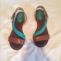 Teal and brown flats Teal and brown flats. Worn once. Great condition. Shoes Sandals