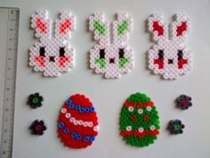 Easter Decorations Set - bunny, flowers, egg - hama perler beads by Cristina Moran