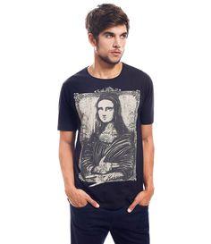 Camiseta Masculina com Estampa Monalisa - Lojas Renner