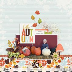 digital scrapbook layout created with Hello Autumn kit and journal cards by Just Jaimee