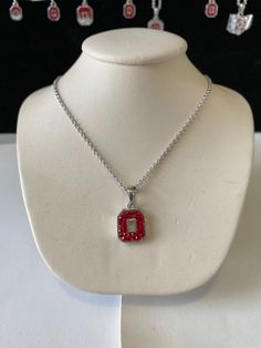 Ohio State Necklace State Necklace, Ohio, Red And White, Brass, Pendant Necklace, Jewels, Crystals, Columbus Ohio, Jewelery