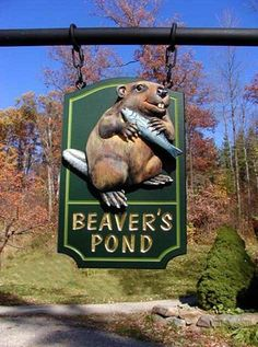 Beaver's Pond Animal Sign, by Danthonia Designs. The Animals, Pond Animals, Metal Signage, Shop Signage, Carved Wood Signs, Wooden Signs, Pub Signs, Decorative Signs, Business Signs