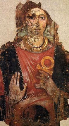 Roman Egyptian Fayum portrait with ankh. [typical firmament colors with golden ankh (Firmament symbol) ]
