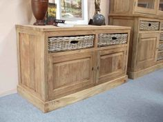 Reclaimed Teak Dresser with Natural Wicker (Kubu) Drawers - Sustainable Furniture  Chunky eco furniture at its best!
