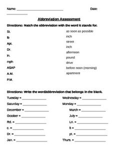 This Product Is A Short Abbreviation Assessment That Requires Both Matching Abbreviations To Their Complete Word