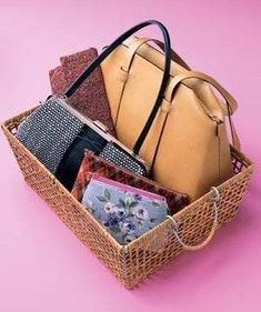 basket of handbags