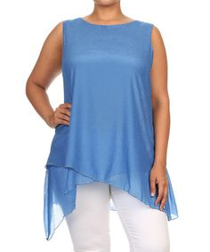 Loving this Blue Layered Sidetail Tunic - Plus on #zulily! #zulilyfinds
