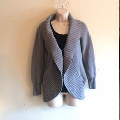 J. Crew Silver Cardi Ribbed trim, long sleeves, front hook closure, silver grey color. No trades. Generous discount with bundle. J. Crew Sweaters Cardigans